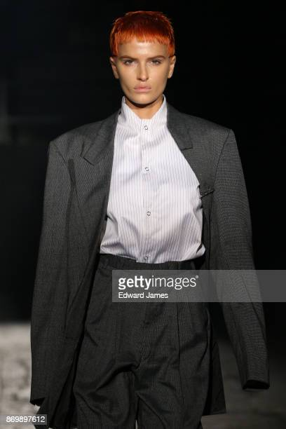 A model walks the runway during the Situationist fashion show at MercedesBenz Fashion Week Tbilisi on November 3 2017 in Tbilisi Georgia