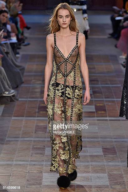 A model walks the runway during the Sonia Rykiel fashion show as part of the Paris Fashion Week Womenswear Fall/Winter 2016/2017 on March 7 2016 in...