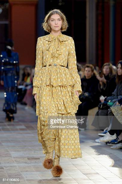Model walks the runway during the Sonia Rykiel show as part of the Paris Fashion Week Womenswear Fall/Winter 2016/2017 on March 7, 2016 in Paris,...