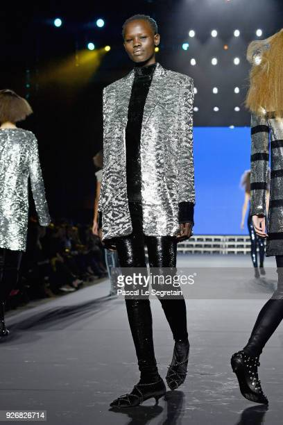 A model walks the runway during the Sonia Rykiel show as part of the Paris Fashion Week Womenswear Fall/Winter 2018/2019 on March 3 2018 in Paris...