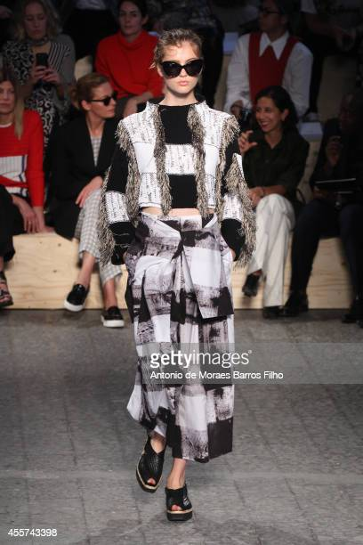 Model walks the runway during the Sportmax as a part of Milan Fashion Week Womenswear Spring/Summer 2015 on September 19, 2014 in Milan, Italy.