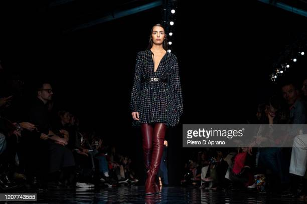 Model walks the runway during the Sportmax fashion show as part of Milan Fashion Week Fall/Winter 2020-2021 on February 21, 2020 in Milan, Italy.