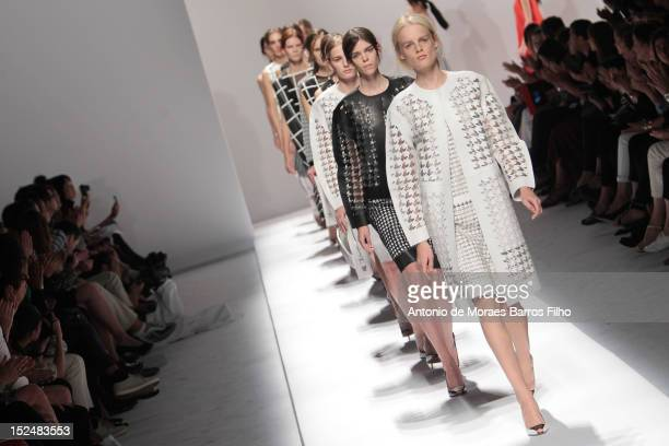 Model walks the runway during the Sportmax show as a part of Milan Fashion Week Womenswear S/S 2013 on September 21, 2012 in Milan, Italy.