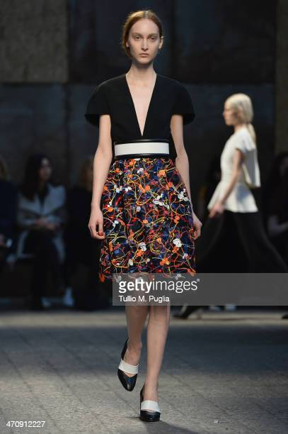 A model walks the runway during the Sportmax Show as part of Milan Fashion Week Womenswear Autumn/Winter 2014 on February 21 2014 in Milan Italy