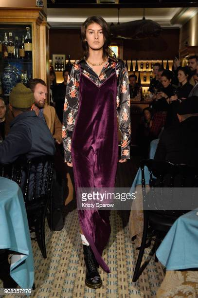 A model walks the runway during the SSS World Corp X Wes Lang Menswear Fall/Winter 20182019 show as part of Paris Fashion Week at Caviar Kaspia on...