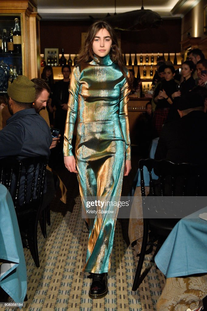 A model walks the runway during the SSS World Corp X Wes Lang Menswear Fall/Winter 2018-2019 show as part of Paris Fashion Week at Caviar Kaspia on January 21, 2018 in Paris, France.
