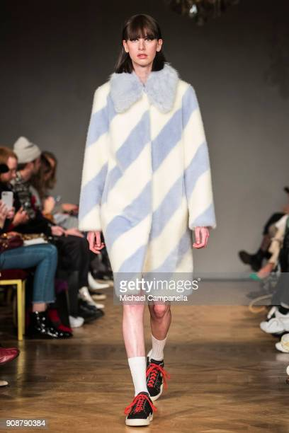 A model walks the runway during the Stand show on the second day of Stockholm Fashion Week at the Grand Hotel on January 22 2018 in Stockholm Sweden