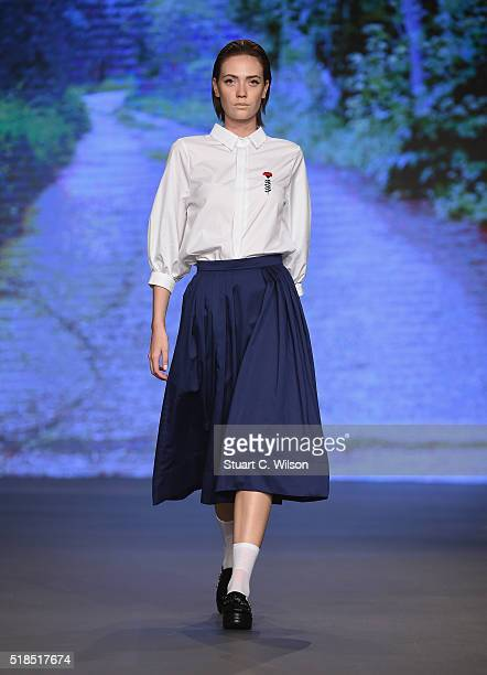 Model walks the runway during the Starch Foundation show at Fashion Forward Fall/Winter 2016 held at the Dubai Design District on April 1, 2016 in...
