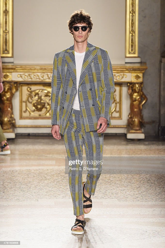 A model walks the runway during the Stella Jean fashion show as part of Milan Men's Fashion Week Spring/Summer 2016 on June 23, 2015 in Milan, Italy.