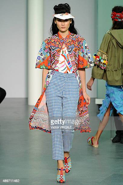 A model walks the runway during the Stella Jean Ready to Wear fashion show as part of Milan Fashion Week Spring/Summer 2016 on September 23 2015 in...