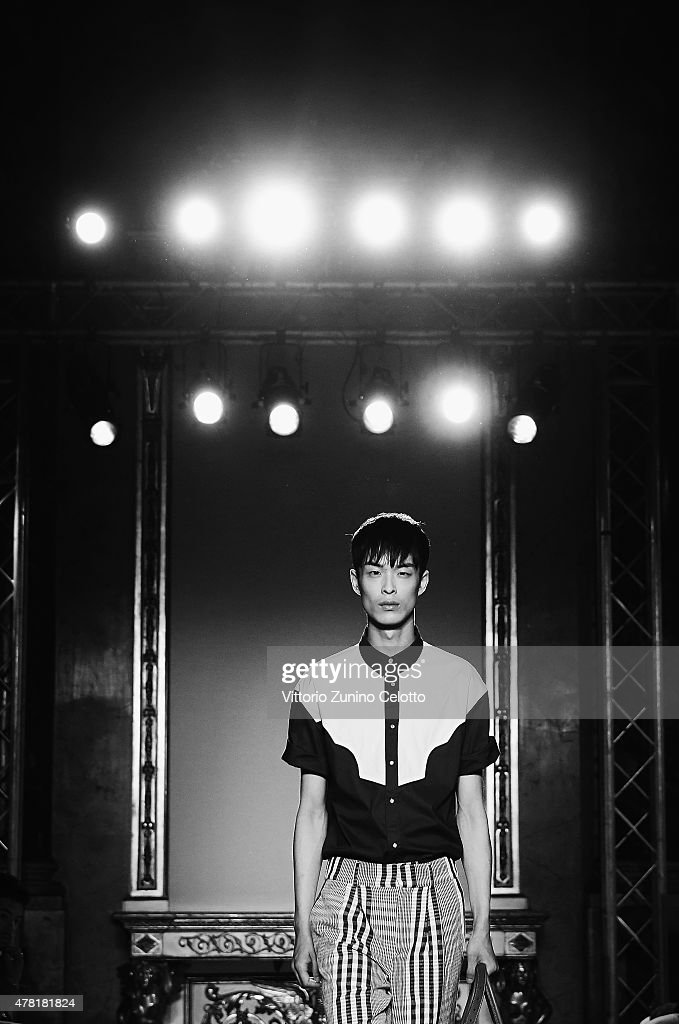 A model walks the runway during the Stella Jean show as part of Milan Men's Fashion Week Spring/Summer 2016 on June 23, 2015 in Milan, Italy.