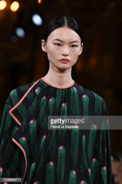 Model walks the runway during the Stella McCartney as part of the Paris Fashion Week Womenswear Fall/Winter 2020/2021 on March 02, 2020 in Paris,...