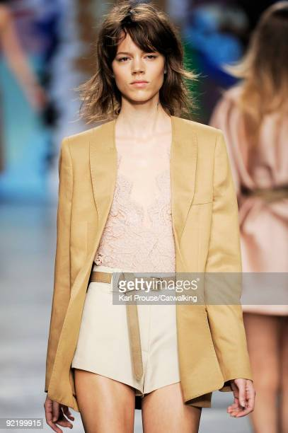 A model walks the runway during the Stella McCartney Ready To Wear show as part of the Paris Womenswear Fashion Week Spring/Summer 2010 at Palais De...