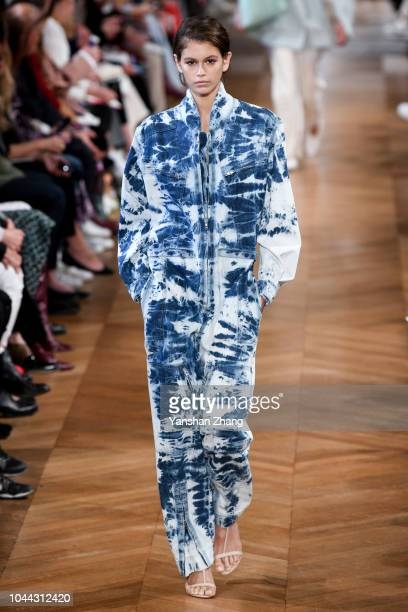 A model walks the runway during the Stella McCartney show as part of the Paris Fashion Week Womenswear Spring/Summer 2019 on October 1 2018 in Paris...