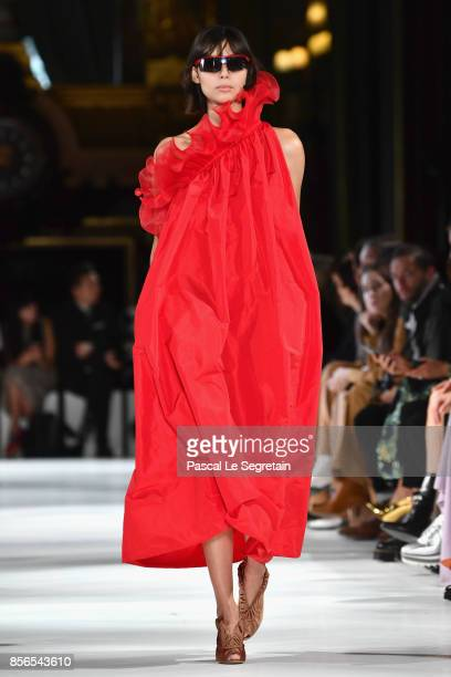 A model walks the runway during the Stella McCartney show as part of the Paris Fashion Week Womenswear Spring/Summer 2018 on October 2 2017 in Paris...