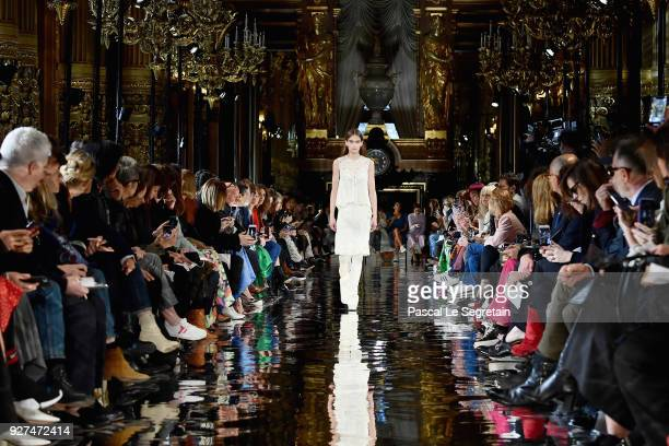 A model walks the runway during the Stella McCartney show as part of the Paris Fashion Week Womenswear Fall/Winter 2018/2019 on March 5 2018 in Paris...