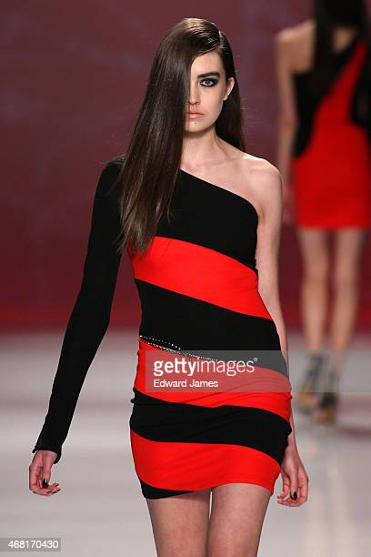 A model walks the runway during the Stephan Caras fashion show at David Pecaut Square on March 27 2015 in Toronto Canada