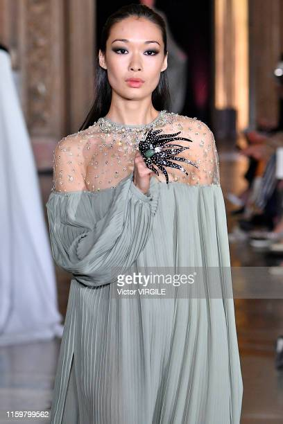 Model walks the runway during the Stephane Rolland Haute Couture Fall/Winter 2019 2020 show as part of Paris Fashion Week on July 02, 2019 in Paris,...