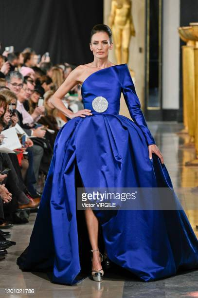 Model walks the runway during the Stephane Rolland Haute Couture Spring/Summer 2020 FASHION show as part of Paris Fashion Week on January 21, 2020 in...