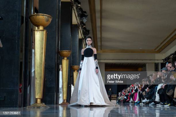 Model walks the runway during the Stephane Rolland Haute Couture Spring/Summer 2020 show as part of Paris Fashion Week on January 21, 2020 in Paris,...