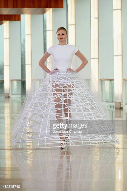A model walks the runway during the Stephane Rolland show as part of Paris Fashion Week Haute Couture Spring/Summer 2015 on January 27 2015 in Paris...