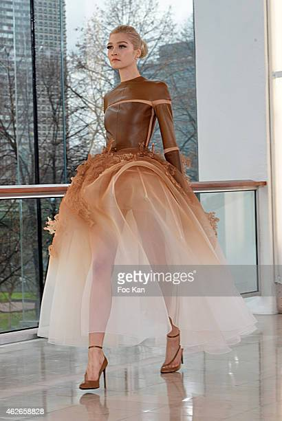 Model walks the runway during the Stephane Rolland show as part of Paris Fashion Week Haute Couture Spring/Summer 2015 on January 27, 2015 in Paris,...