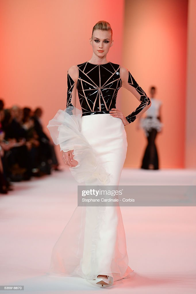 A model walks the runway during the Stephane Rolland show as part of Paris Fashion Week Haute-Couture Spring/Summer 2014, at Grand Palais in Paris.