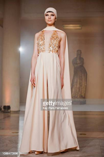 A model walks the runway during the Stephane Rolland Spring Summer 2019 show as part of Paris Fashion Week on January 22 2019 in Paris France