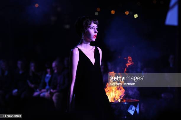 A model walks the runway during the Stolen Girlfriends Club show during New Zealand Fashion Week 2019 at Avondale Racecourse on August 28 2019 in...