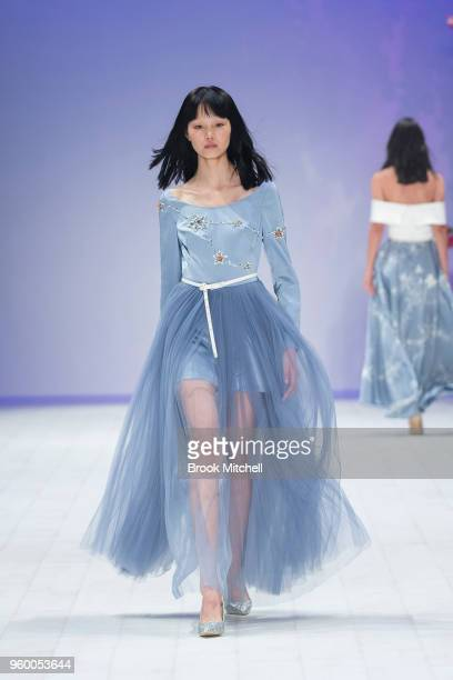 A model walks the runway during the Style Collective show at MercedesBenz Fashion Week Australia Weekend Edition at Carriageworks on May 19 2018 in...