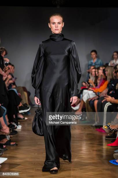 Model walks the runway during the StyleIn show on first day of Stockholm Fashion Week Spring/Summer 18 at Grand Hotel on August 30, 2017 in...