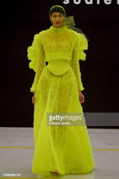 A model walks the runway during the Sudi Etuz Spring/Summer 2019 Collection fashion show at MercedesBenz Fashion Week Tbilisi on November 2 2018 in...