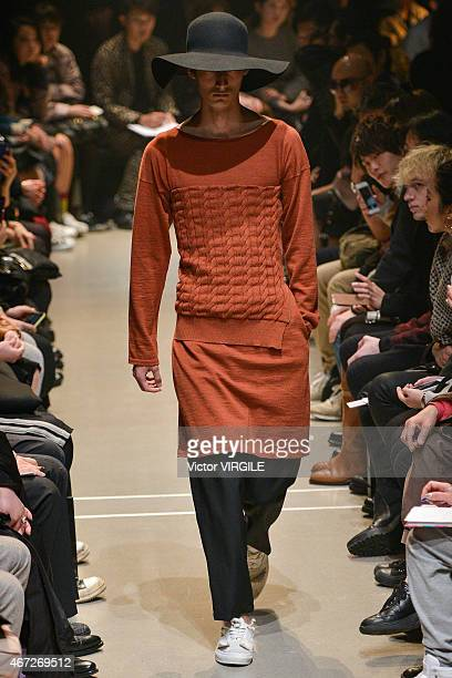 A model walks the runway during the Sulvam show as part of Mercedes Benz Fashion Week TOKYO 2015 A/W on March 21 2015 in Tokyo Japan