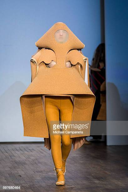 A model walks the runway during the Swedish School of Textiles show on the first day of Stockholm Fashion Week on August 29 2016 in Stockholm Sweden