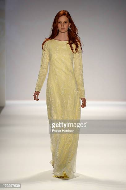 A model walks the runway during the Tadashi Shoji Spring 2014 fashion show at MercedesBenz Fashion Week Spring 2014 Official Coverage Best Of Runway...