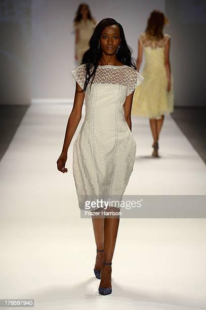 A model walks the runway during the Tadashi Shoji Spring 2014 fashion show at MercedesBenz Fashion Week Spring 2014 Official Coverage Best Of Runway...