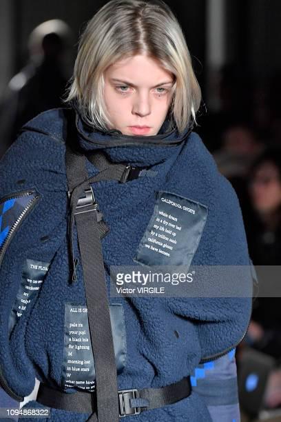 Model walks the runway during the Takahiro Miyashita The Soloist Menswear Fall/Winter 2019-2020 fashion show as part of Paris Fashion Week on January...