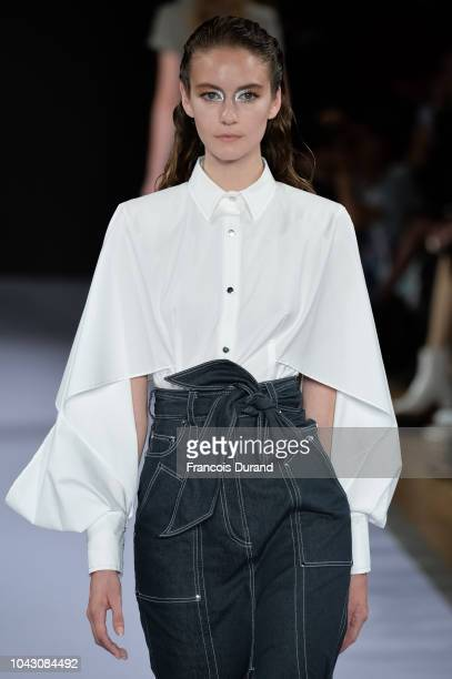 A model walks the runway during the Talbot Runhof show as part of the Paris Fashion Week Womenswear Spring/Summer 2019 on September 29 2018 in Paris...