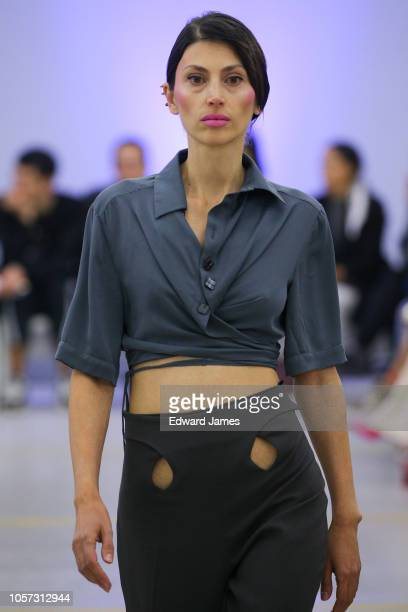 A model walks the runway during the Tamara Kopliani Spring/Summer 2019 Collection fashion show at MercedesBenz Fashion Week Tbilisi on November 3...