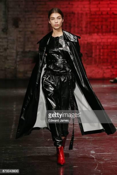 A model walks the runway during the Tamuna Ingorokva fashion show at MercedesBenz Fashion Week Tbilisi on November 4 2017 in Tbilisi Georgia