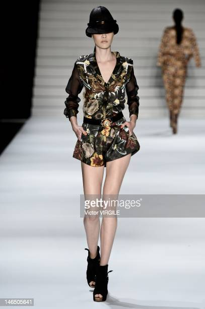A model walks the runway during the Teca show as part of the Sao Paulo Fashion Week Spring Summer 2013 on June 16 2012 in Sao Paulo Brazil