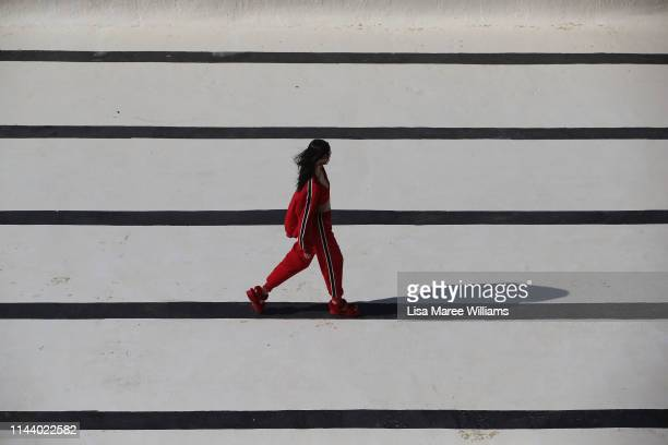 A model walks the runway during the Ten Pieces show at MercedesBenz Fashion Week Resort 20 Collections at Bondi Icebergs on May 16 2019 in Sydney...