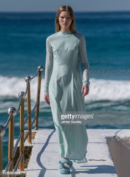 Model walks the runway during the Ten Pieces show at Mercedes-Benz Fashion Week Resort 20 Collections at Bondi Icebergs on May 16, 2019 in Sydney,...