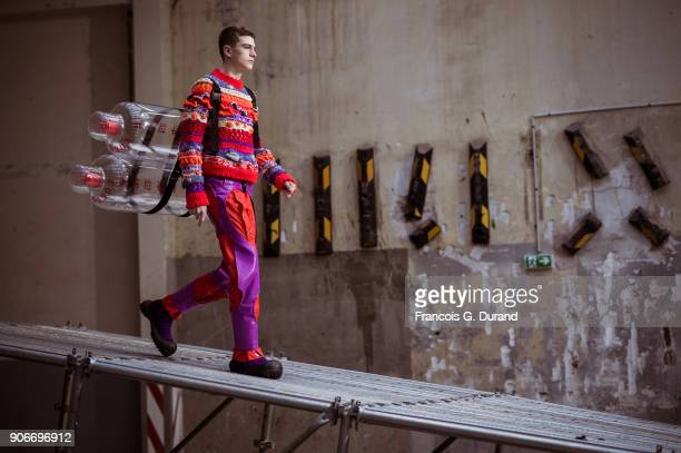 A model walks the runway during the the Angus Chiang Menswear Fall/Winter 20182019 show as part of Paris Fashion Week on January 18 2018 in Paris...
