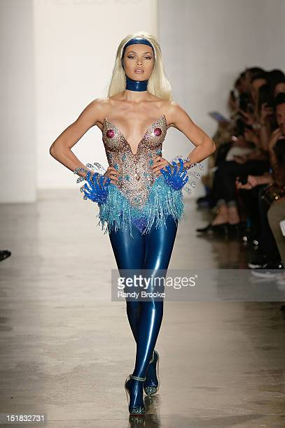 Model walks the runway during the The Blonds show during Spring 2013 Mercedes-Benz Fashion Week at Milk Studios on September 11, 2012 in New York...