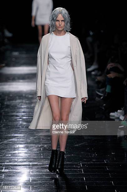 Model walks the runway during the Theyskens' Theory show during Spring 2013 Mercedes-Benz Fashion Week at Skylight Moynihan Station on September 10,...
