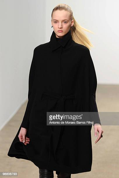 Model walks the runway during the Thierry Mugler Ready to Wear show as part of the Paris Womenswear Fashion Week Fall/Winter 2011 at Palais De Tokyo...