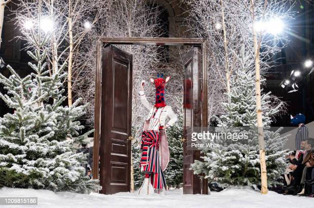 Model walks the runway during the Thom Browne as part of the Paris Fashion Week Womenswear Fall/Winter 2020/2021 on March 01, 2020 in Paris, France.
