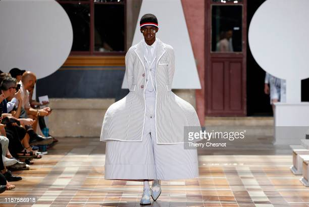 Model walks the runway during the Thom Browne Menswear Spring Summer 2020 show as part of Paris Fashion Week on June 22, 2019 in Paris, France.