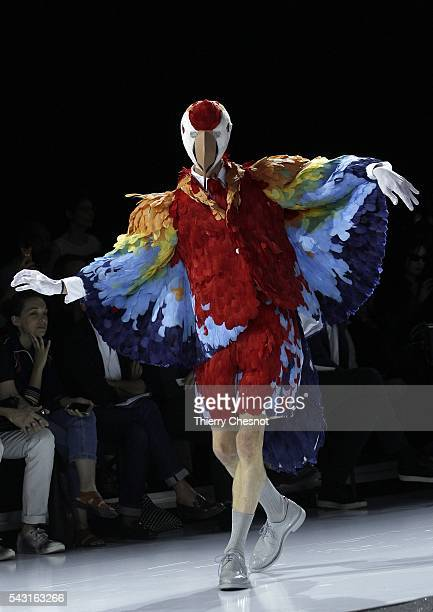 A model walks the runway during the Thom Browne Menswear Spring/Summer 2017 show as part of Paris Fashion Week on June 26 2016 in Paris France